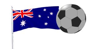 Realistic fluttering flag of Australia and soccer ball flying around on a white background, 3d rendering. Realistic fluttering flag of Australia and soccer ball Stock Images