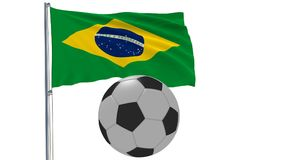 Realistic fluttering flag of Brazil and soccer ball flying around on a white background, 3d rendering. Realistic fluttering flag of Brazil and soccer ball Stock Photography