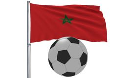 Realistic fluttering flag of Morocco and soccer ball flying around on a white background, 3d rendering. Stock Photo