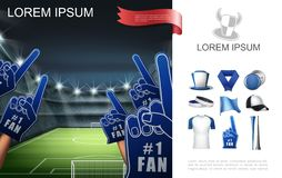 Realistic Football Fans Attributes Concept royalty free stock photos