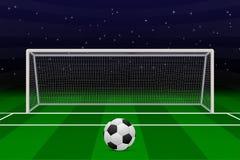 Realistic Football goal. On soccer field. Vector illustration Royalty Free Stock Photos