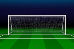 Realistic Football goal. On soccer field. Vector illustration Royalty Free Stock Image