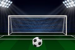 Realistic Football goal. On soccer field. Vector illustration Royalty Free Stock Photography
