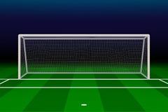 Realistic Football goal. On soccer field. Vector illustration Stock Photography