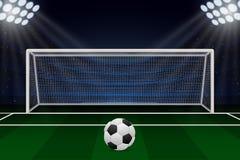 Realistic Football goal. On soccer field. Vector illustration Stock Photo