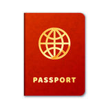 Realistic foreign passport icon with red cover and golden letters Royalty Free Stock Photos