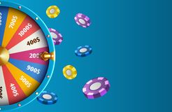 Realistic fortune wheel and chips - casino vector background. Illustration of fortune luck wheel, gambling casino game, play in lottery royalty free illustration