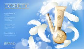 Realistic foundation powder. Tube spray, container golden cosmetic light background blue sunny sky spring white feather. 3d template mock up branding cosmetic Royalty Free Stock Photography