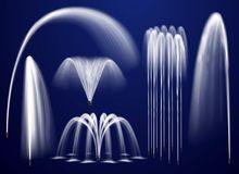 Realistic Fountains On Blue Background Set. Set of realistic fountains including single jets and combination of streams on blue background isolated vector Stock Photography