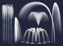 Realistic Fountains On Transparent Background Set. Set of realistic fountains with water jets in various geometric combination on transparent background isolated Stock Photography