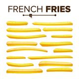 Realistic French Fries Set Vector. Classic American Fast Food Potato Stick. Design Element. Isolated On White. Realistic French Fries Vector. Tasty Fast Food Stock Photography