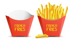 Realistic French Fries Vector. Red Paper Package. Empty And Full. Isolated On White Illustration. Realistic French Fries Potatoes Vector. Tasty Fast Food Potato Stock Images