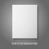 Realistic front white blank hardcover book. Vector. Realistic front white blank hardcover book. Isolated on grey background for design and branding, with place Stock Image
