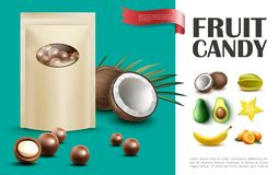 Realistic Fruit Candies Concept stock images