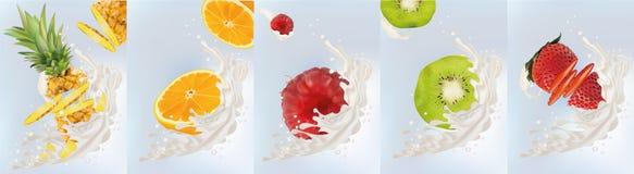 Realistic fruits kiwi, orange, pineapple, raspberry, strawberry with milk splashes close up. 3d vector illustration. Set stock illustration