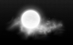 Realistic full moon with clouds isolated on a transparent background. Starry cloud. Dark night. Glowing milk moon. Vector illustra Stock Illustration