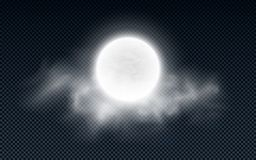 Realistic full moon with clouds isolated on a transparent background. White fog. Dark night. Glowing milk moon. Vector illustratio Vector Illustration