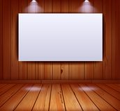 Realistic gallery interior on wooden wall background Royalty Free Stock Images