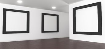 Realistic Gallery Room With Big Empty Picture Frames. 3D Rendering Of Realistic Gallery Room With Big Empty Picture Frames Royalty Free Stock Photos