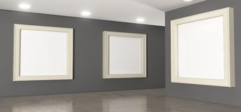 Realistic Gallery Room With Big Empty Picture Frames Stock Image