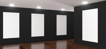 Realistic Gallery Room With Big Empty Posters. 3D Rendering Of Realistic Gallery Room With Big Empty Posters Royalty Free Stock Photos