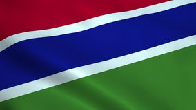 Realistic Gambia flag. Waving in the wind. Seamless looping stock footage