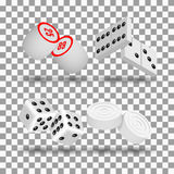 Realistic game icons, vector illustration. Realistic 3D game icons. Items to play dominoes, dice, checkers and lotto, vector illustration Stock Image