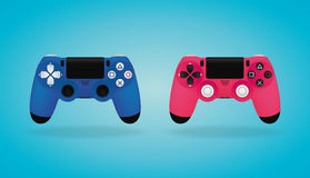 Realistic Gamepad. Blue and pink video game controllers. Vector illustration. Blue and pink video game controllers. Realistic Gamepad Royalty Free Stock Image