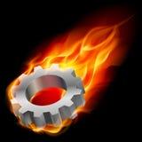 Gearwheel in fire. Realistic gearwheel in fire. Illustration on black background for design Stock Photography