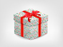 Realistic gift box with red bow Stock Photo