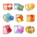 Realistic gift boxes with open covers colorful set on white Royalty Free Stock Image