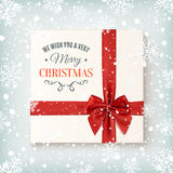 Realistic gift icon, top view on winter background Royalty Free Stock Photo