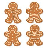 Realistic gigngerbread men collection stock illustration