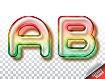 Realistic glass alphabet font Stock Image