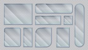 Realistic glass banners. Transparent window effect, clear acrylic shapes with glare reflections. Vector isolated plastic. Realistic glass banners. Transparent royalty free illustration