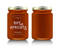Realistic glass bottle packaging. For fruit jam design. Apricot jam with design label, typography, line drawing apricots i. Mock up container or jar Royalty Free Stock Image