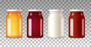 Realistic Glass Bottles With Caps. Colorful wide neck glass bottles with white caps on transparent background realistic vector illustration vector illustration