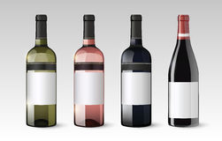Realistic Glass Bottles Set. With white red and rose wines on gray background vector illustration royalty free illustration