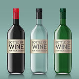 Realistic of glass bottles for wine Stock Image