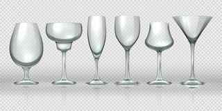 Realistic glass cups. Empty transparent champagne cocktail wine glasses and goblets. Vector realistic 3D glassware vector illustration