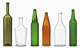 Realistic glass 3d blank bottle. Vector Bottles isolated on the alpha transperant background. Realistic glass 3d blank bottle. Vector Bottles isolated on the Royalty Free Stock Photo