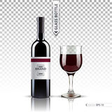 Realistic Glass of Red wine and bottle isolated on transparent background. Vector 3d detailed mock up set illustration. Glass of wine and bottle isolated on Royalty Free Stock Image