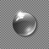 Realistic glass sphere, a drop of water on a transparent background. Vector illustration. Royalty Free Stock Image
