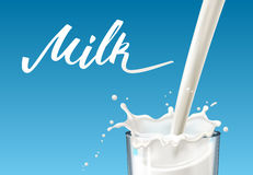 Realistic glass to pour milk splash, on a blue background. Handmade lettering Stock Photos