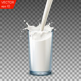 Realistic glass to pour milk splash, on a transparent background. Royalty Free Stock Images