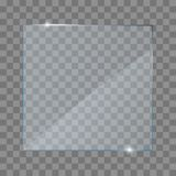Realistic glass transparent plates, square, rectangle and round. vector illustration