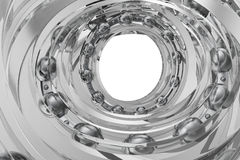 Realistic glass whirling bearing in the bearing white background. 3d rendering Stock Photos