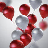 Realistic glossy balloons. Vector festive illustration of flying realistic glossy balloons. Red and white balloon bunch. Decoration element for holiday event Royalty Free Stock Photography
