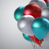 Realistic glossy balloons. Vector festive illustration of flying realistic glossy balloons. Red, white and turquoise balloon bunch. Decoration element for Stock Image