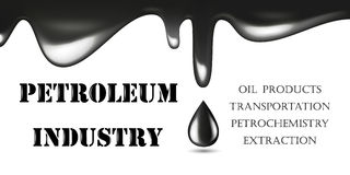 Realistic Glossy Drop of Black Oil Isolated on White Background. Vector illustration. Petroleum Industry logo Royalty Free Stock Photo